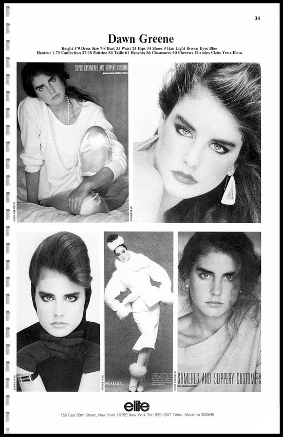 One of my pages out of the Elite model agency book. This was before the  Internet c0b602266